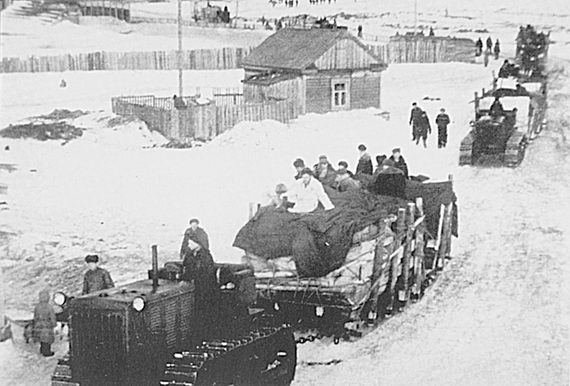Санный поезд везет продукты колымской зимой
