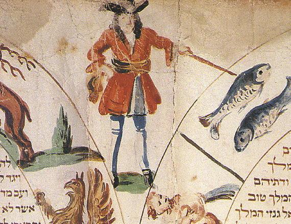 Фрагмент Свитка Эстер, накотором человек указывает назнак Рыб, обозначающий месяц адар. Германия. Начало XIX века
