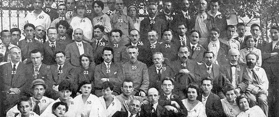 (Нафото здесь идалее.) Участники конференции сионистов вМоскве, арестованные 23 апреля 1920
