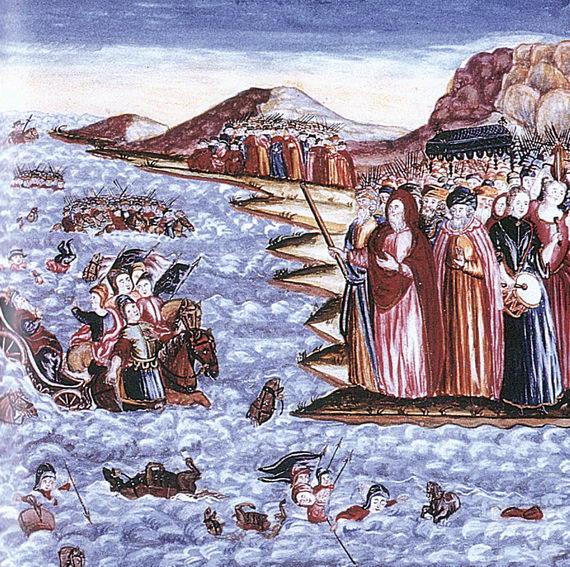 Переход через Красное море. Иллюстрация Йосефа Лейпника изАгады. Альтона. 1740. Granger Collection
